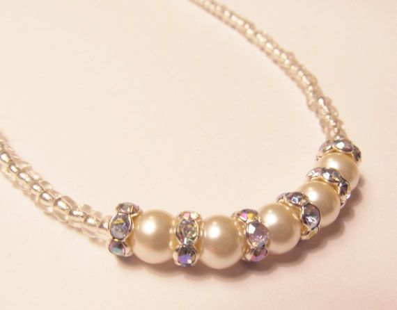 Ivory Pearl Necklace with Crystal Rondelle by RomanticThoughts.etsy.com