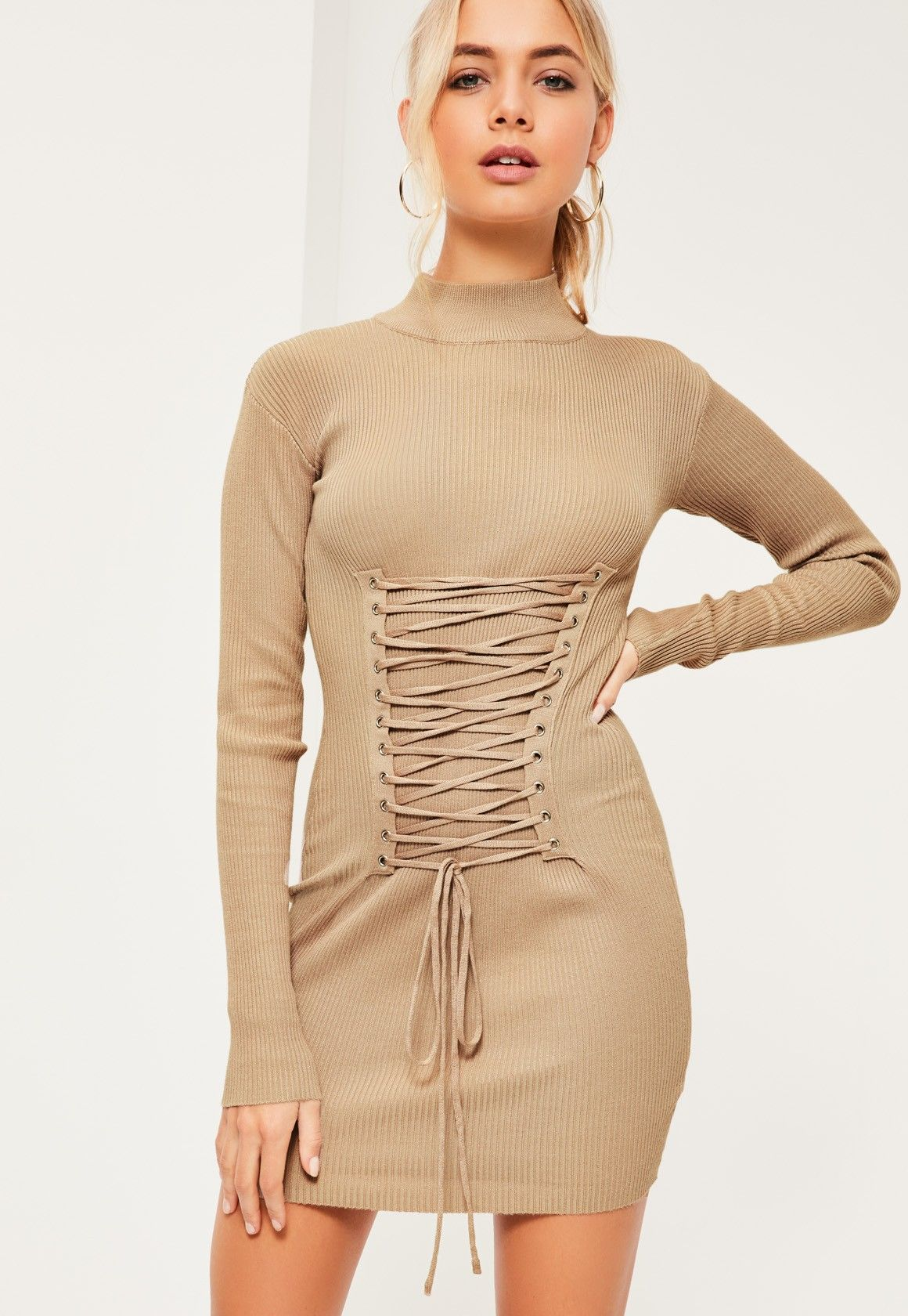 Lace dress for pregnant  In a neutral nude shade this chic corset style jumper dress is