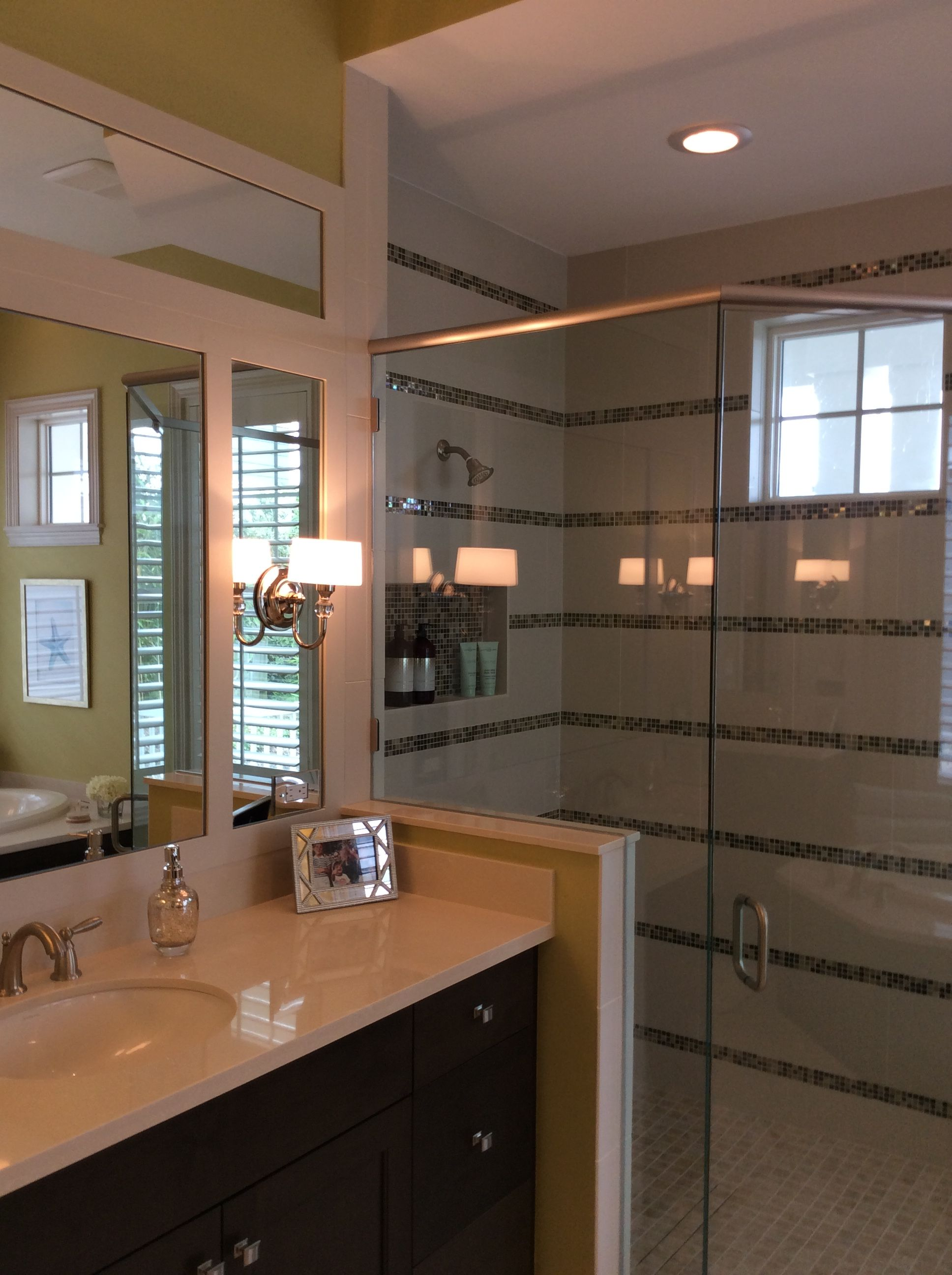 Master Bath, notice the mosaic tile accent in the shower ...