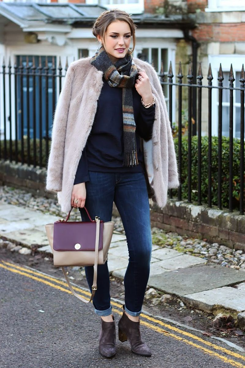 Faux Fur Jacket Worn With Skinny Jeans Outfit | The Elgin Avenue Blog