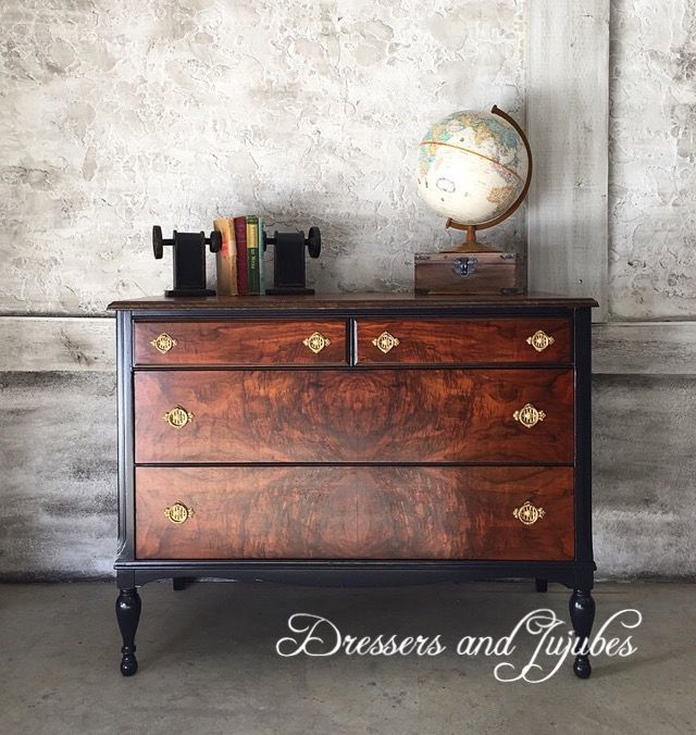 Burled Walnut And Navy Antique Dresser Refinish Dressers Painted Furniture Bedrooms