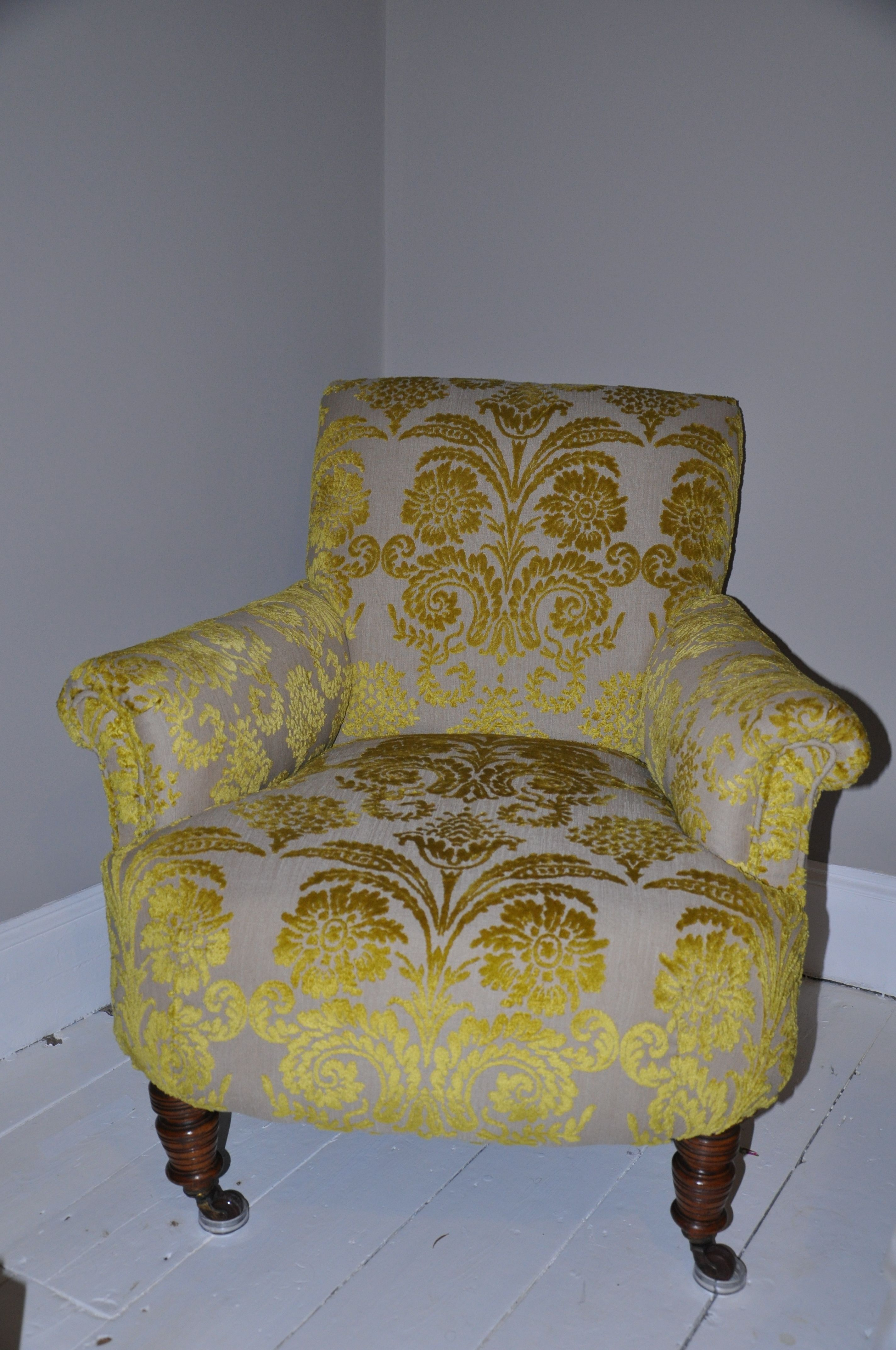 Edwardian chair traditionally reupholstered and covered in