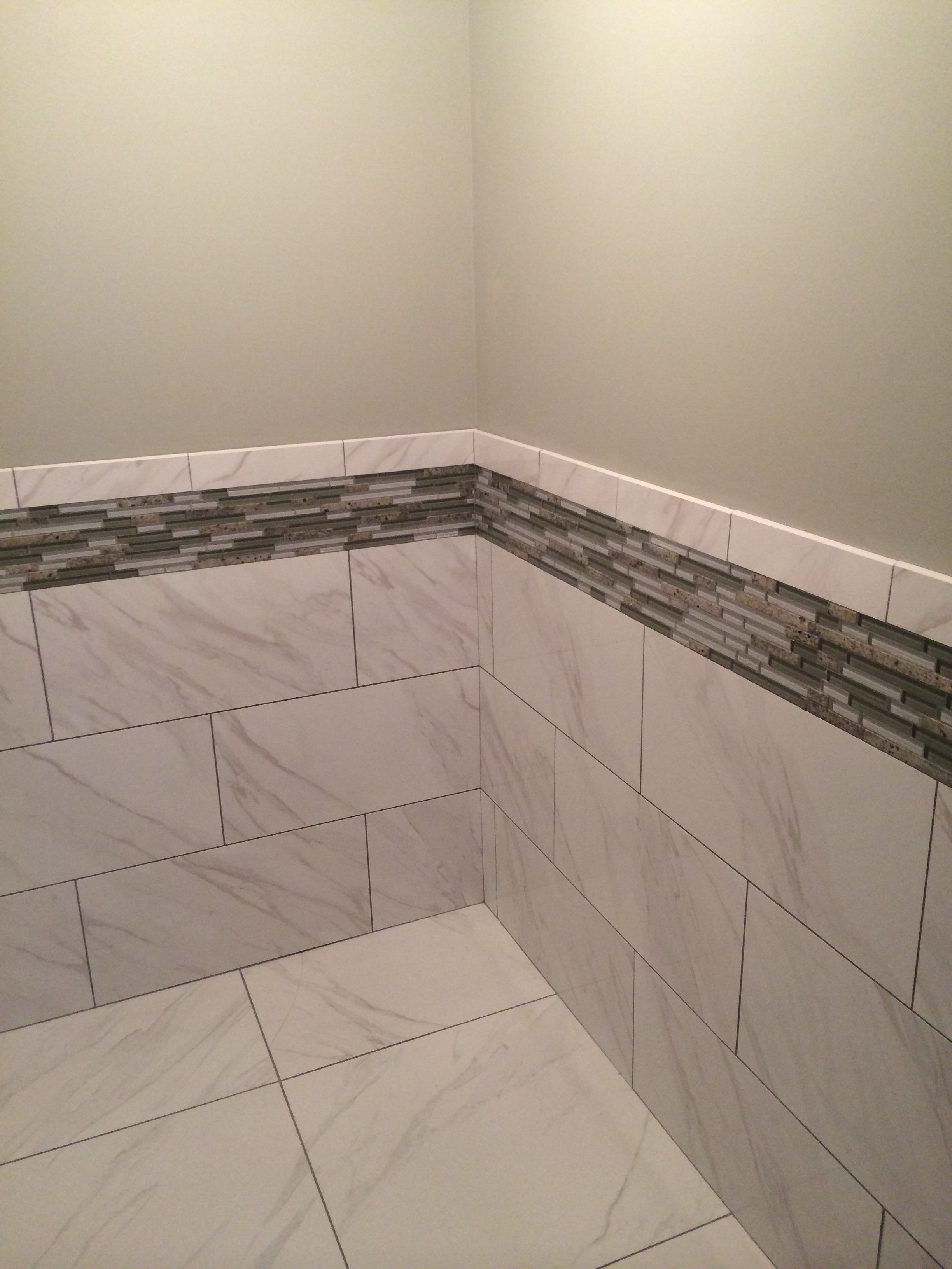 Daltile Florentine Carrara 12x24 Gloss On The Walls With Matte 24x24 On The Floor And Bostik Dimension Grout And K Daltile Master Shower Small Bathroom Remodel