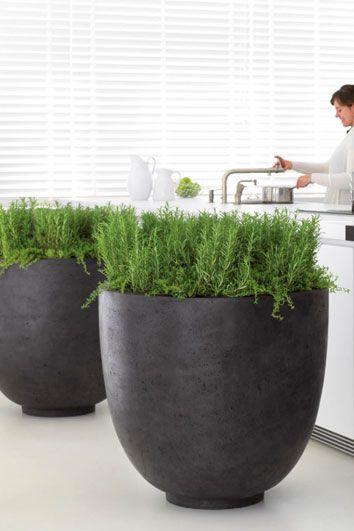 Ronde betonlook plantenbakken Ego giant - Artiplant