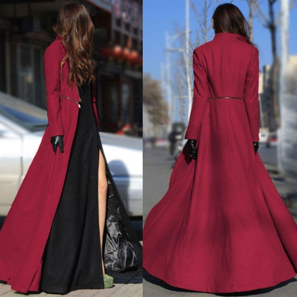 94258ec179a Ladies Cape Wool Poncho Jacket Warm Cloak Trench Coat Long Maxi Overcoat  Dresses