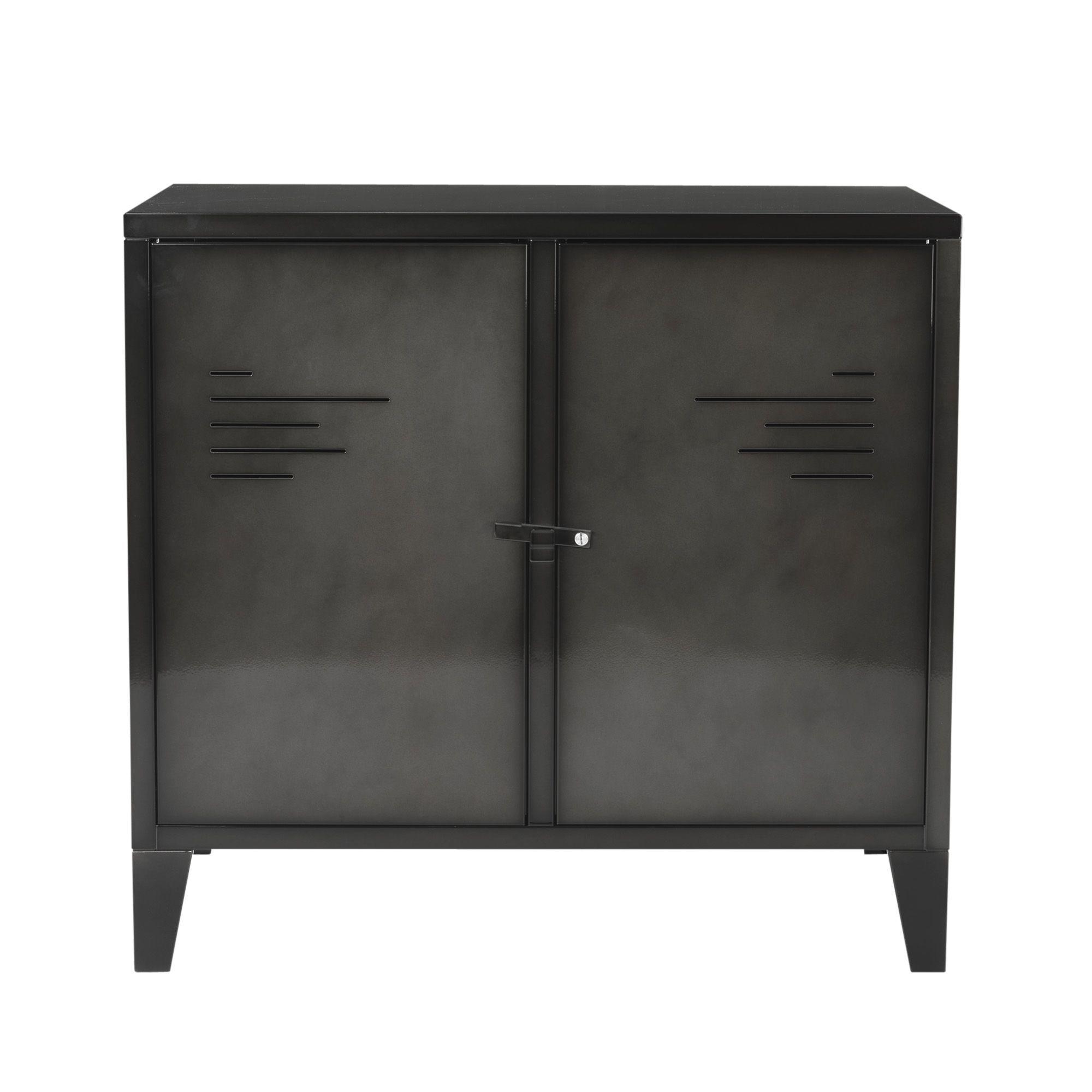Commode 2 portes en métal gris Gris - Lofter - Les armoires ...
