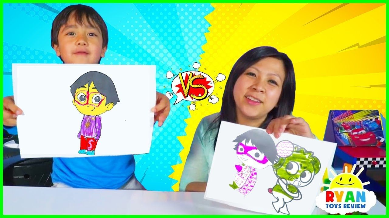 3 Marker Challenge with Ryan vs Mommy!!! in 2020 Panda