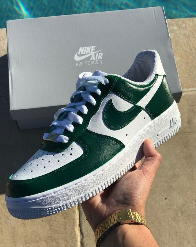 green and blue air force ones