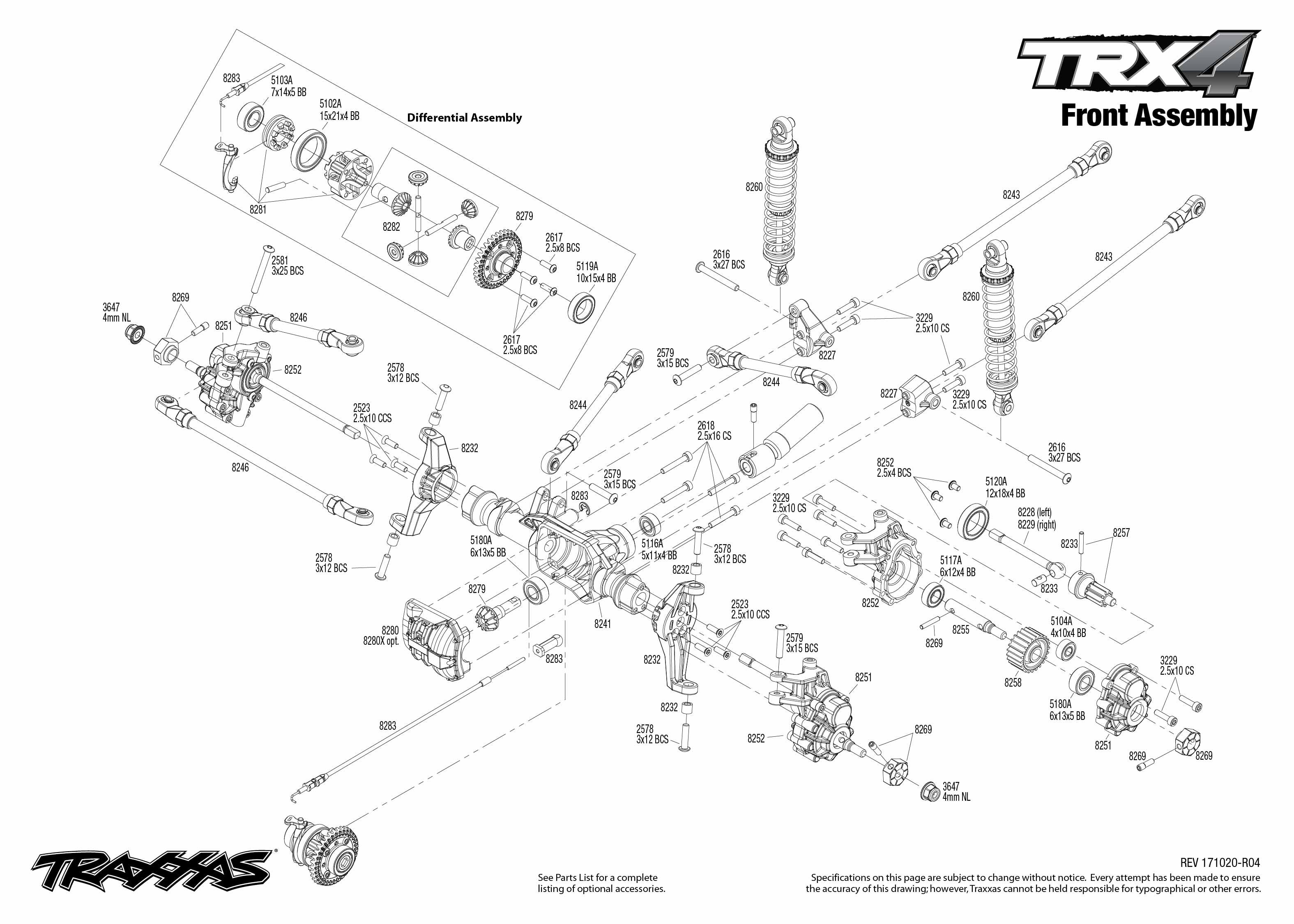 Trx 4 Scale And Trail Crawler 82056 Front Assembly Exploded View Traxxas Nitro Rustler Parts Diagram