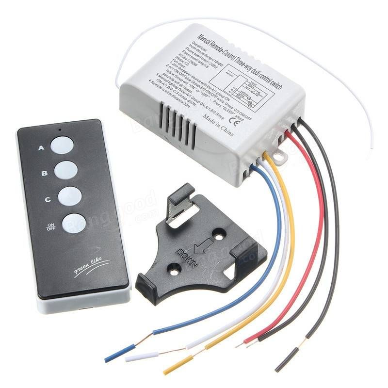 220v Wireless On Off 3 Way Lamp Light Remote Control Switch