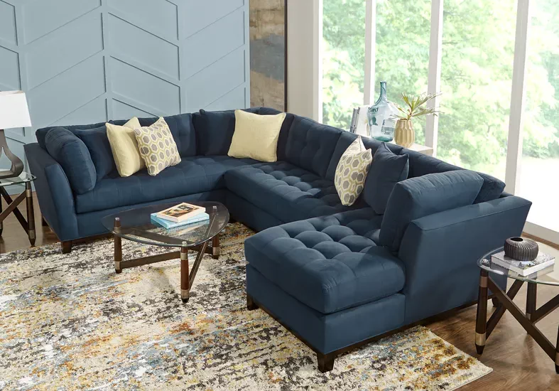 Cindy Crawford Home Metropolis Way Sapphire Microfiber 3 Pc Sectional Rooms To Go Furniture Affordable Furniture Stores Rooms To Go #rooms #to #go #living #room #sofas