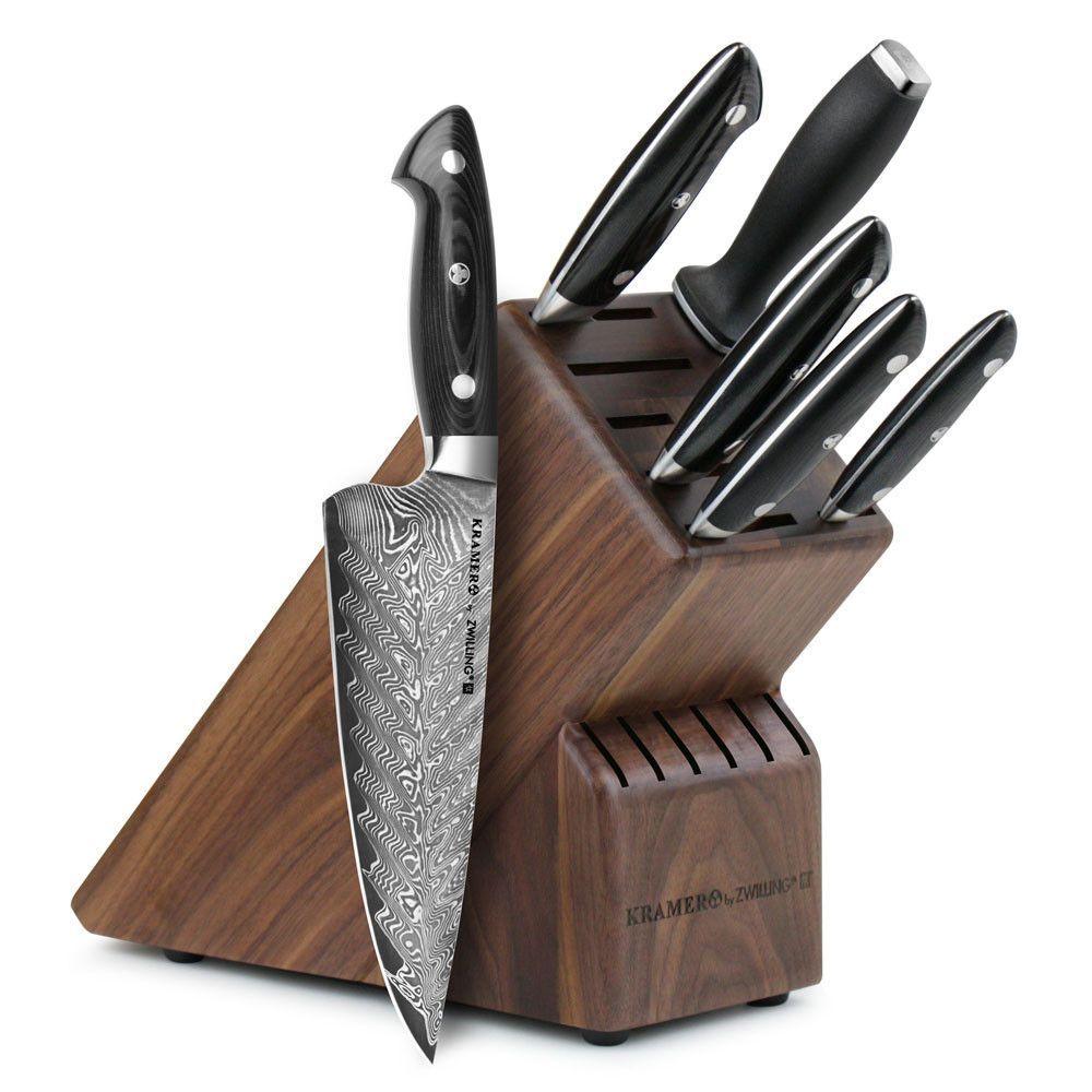 Zwilling ja henckels bob kramer stainless damascus knife block set