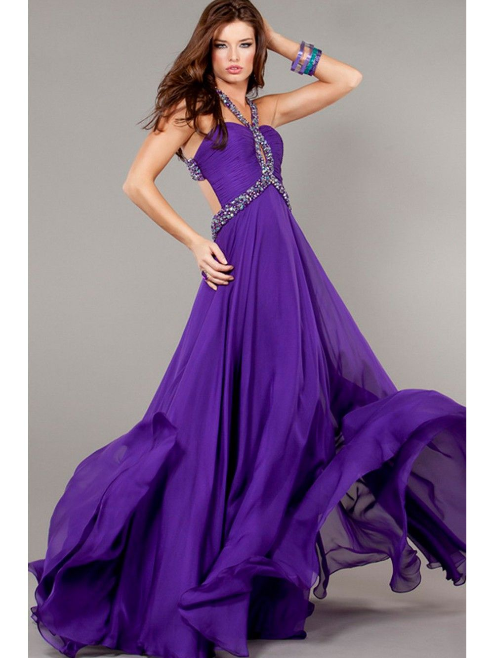 NEW) Purple Chiffon Halter Long Prom Dress/Bridesmaid Dress 2015 ...