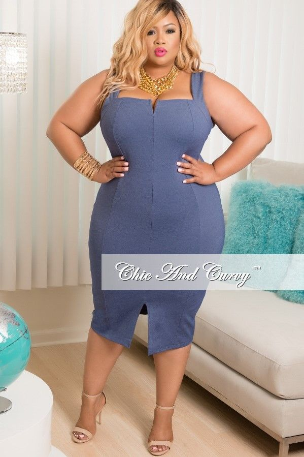 Plus Size Sleeveless Dress With Front Split In Blue Faux Denim