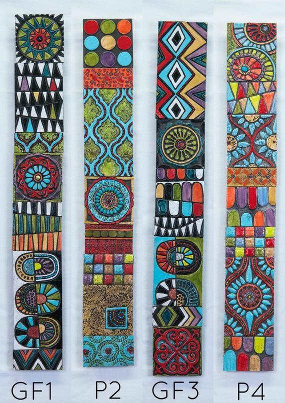 Global Folk Sticks (your choice of pattern) Handmade Tile Wall Art, Vertical or Horizontal Art, Gall