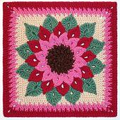 "The Crocodile Flower - Free crochet 12"" square pattern by Joyce Lewis."