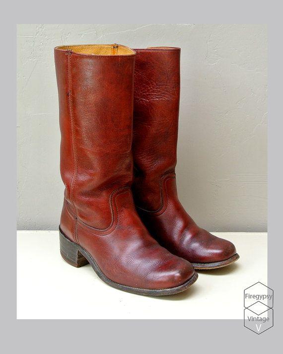 6ddf3f3016e1c vintage Frye boots - oxblood burgundy leather - campus boot - knee ...