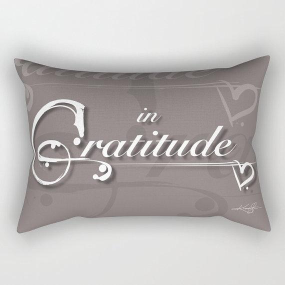 Gratitude Color Mocha Pillow, Black, Typography Art, Abstract, Home Decor Rectangular Pillow, Decorative, Kathy Morton Stanion  EBSQ