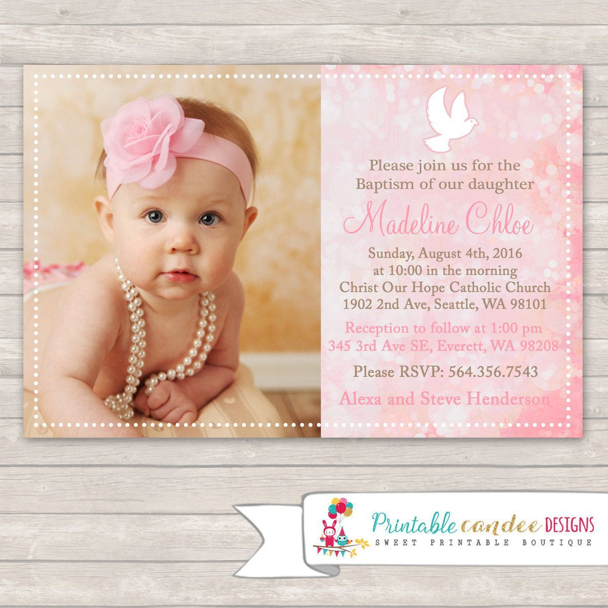 Baptism Invite Template Baptism Invitations Christening