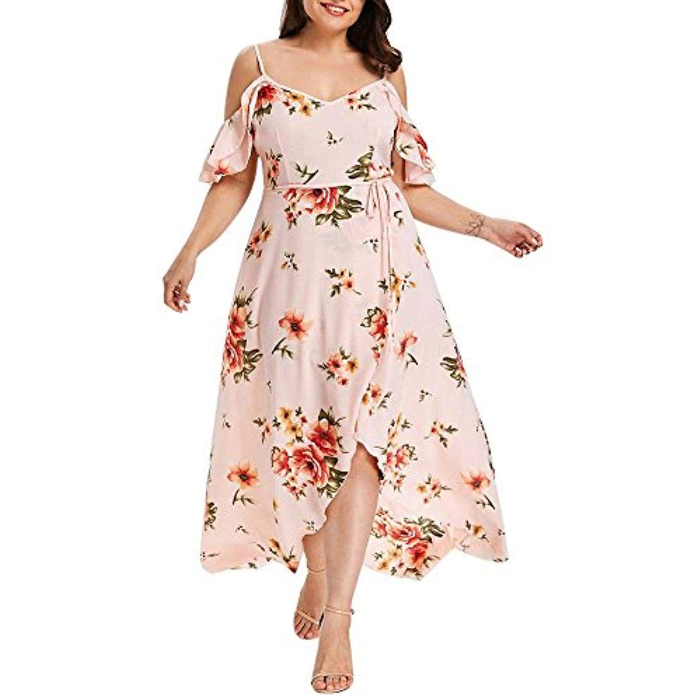 Summer Dress Plus Size Long Dress Women Casual Short Sleeve Cold Shoulder Boho Flower Print Boho Summer Dresses Printed Long Dresses Plus Size Long Dresses
