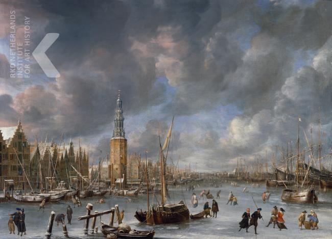 Abraham Beerstraaten, IJsvermaak bij de Haringpakkerstoren te Amsterdam. Olieverf, 92 x 126,5cm. Gesigneerd en gedateerd middenonder: A. Beerstraten 1666 (op het schip) >> literatuur op RKD