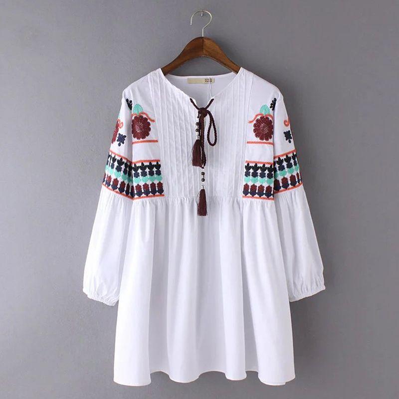 640143d5d057e Autumn Vintage Ethnic Embroidered Blouse Fashion Drawstring Round Neck Long  Sleeve White Women Tops ABN4015