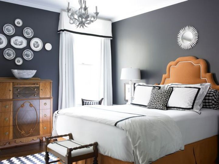 Black And Orange Bedroom bedrooms - decorative wall plates blue walls white sunburst mirror