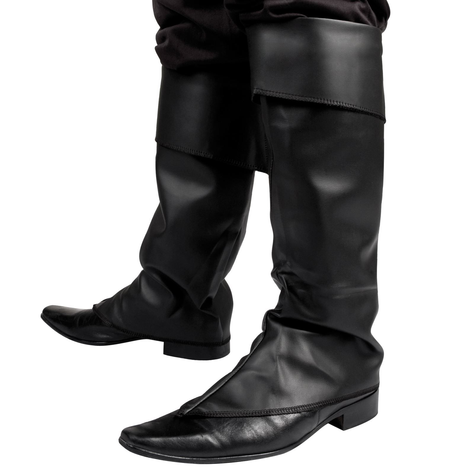 Black Leather Look Medieval Pirate Jack Sparrow Fancy Dress Costume Boot Covers