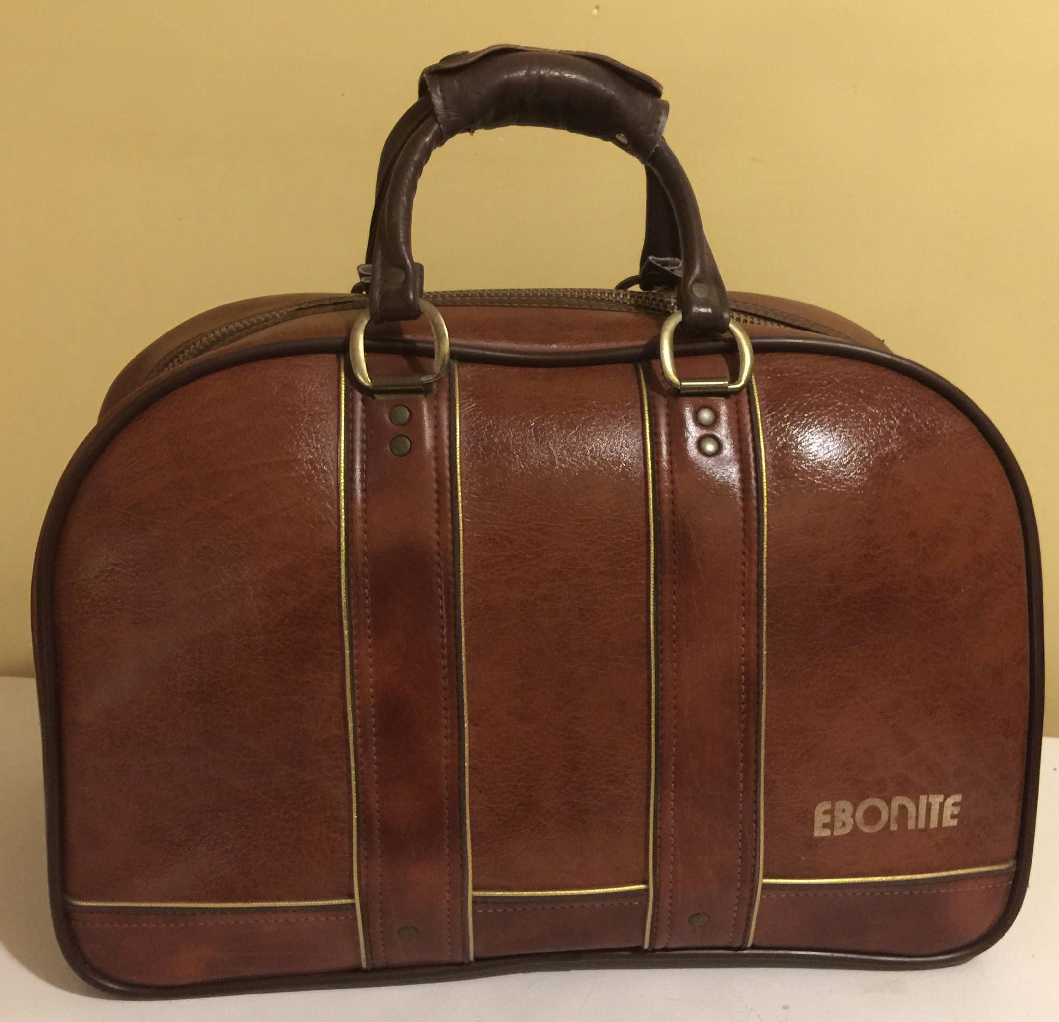 Vintage Ebonite Bowling Bag 2 Ball Brown With Gold Trim Is Straight From The 80 S By Gdtreasures On Etsy Bowling Bags Bags Leather Backpack