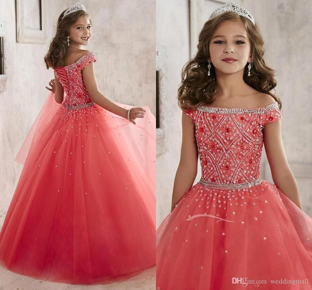 Little Girls Pageant Dresses Wear 2016 Off Shoulder Crystal Beads ...
