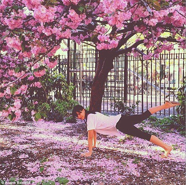 Hilaria Baldwin Planks Under A Cherry Blossom Tree In Latest Yoga Pose Blossom Trees Cherry Blossom Tree Yoga