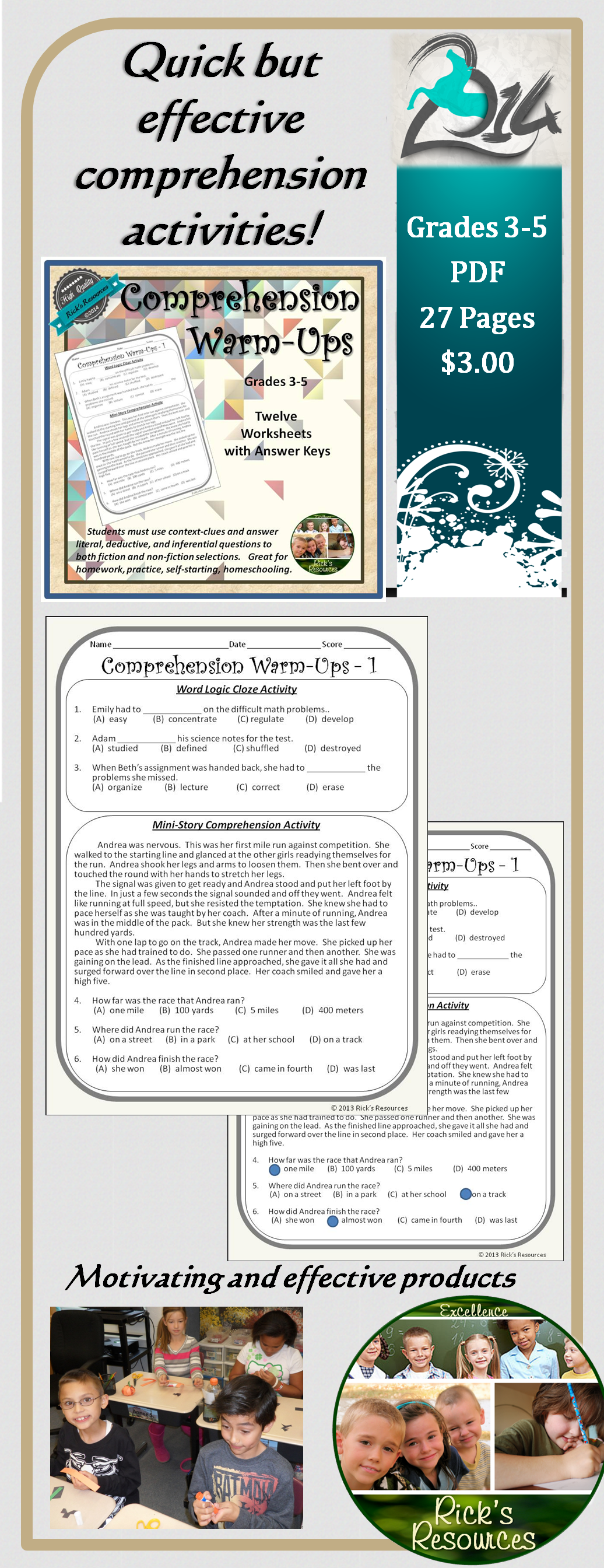 Reading Comprehension Weekly Warm Ups Print And Digital