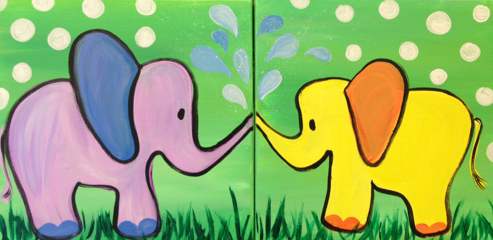 I am going to paint mommy me elephant love at pinot 39 s for Paint and sip cleveland