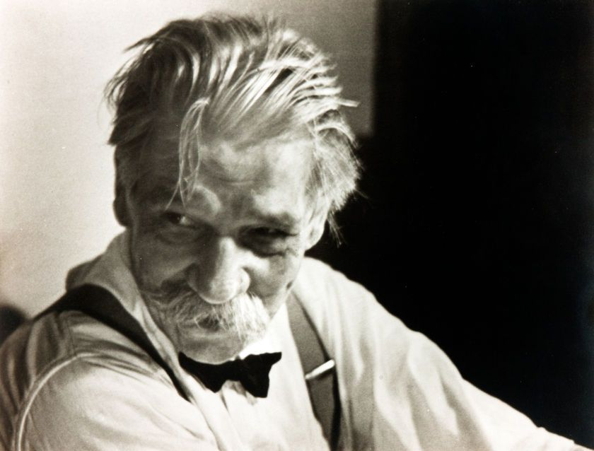 Black and white print of organist albert schweitzer