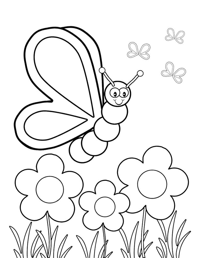 Butterfly Viewing Flowers Coloring Page Spring Coloring Sheets Spring Coloring Pages Kindergarten Coloring Pages