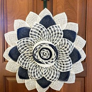 Photo of Patriotic Flag Americana Poly Burlap Flower Wreath, 4th July Wreath, Fourth of July Wreath, July 4th, Veterans Day, Patriotic Sunflower