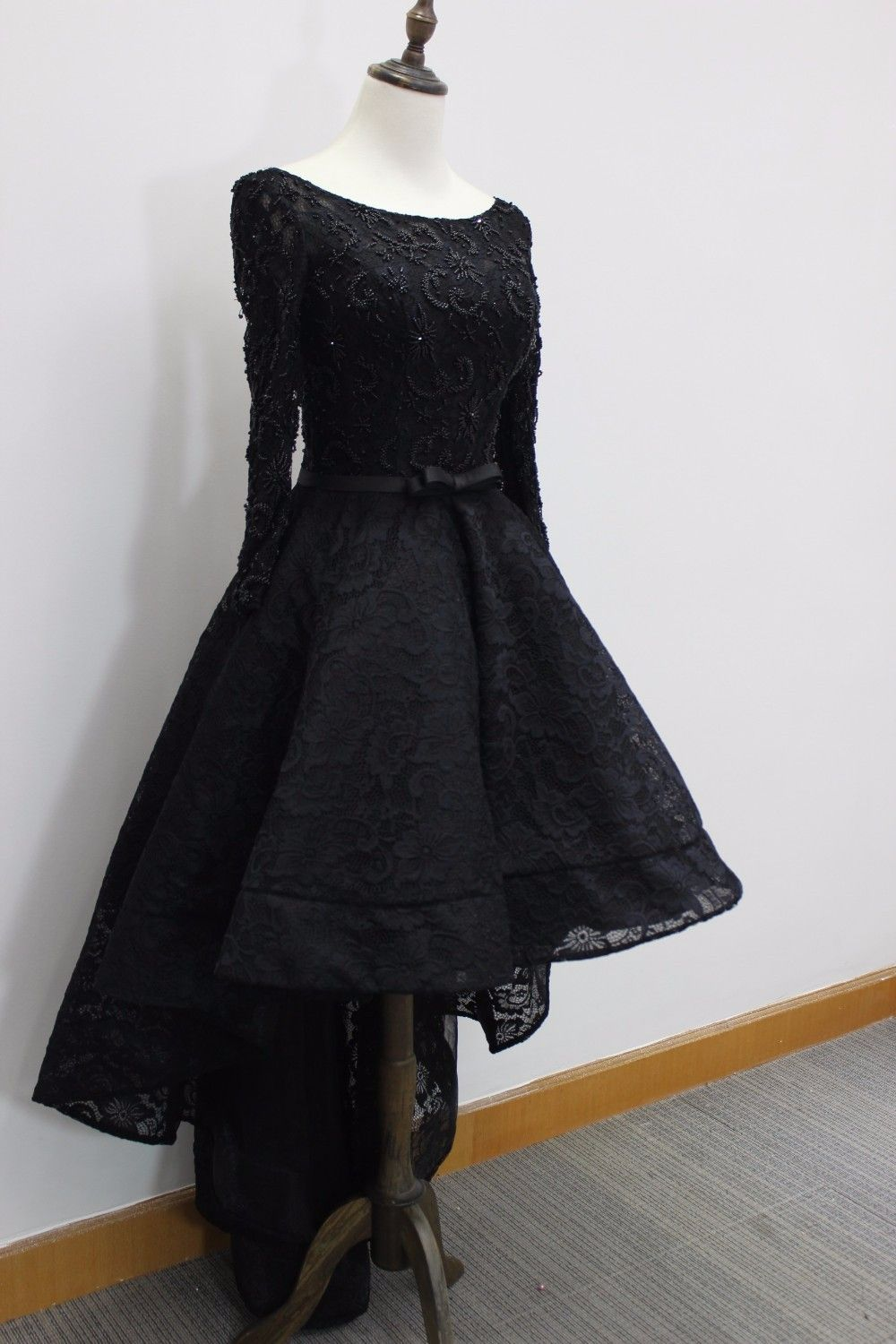 Long sleeves black lace high low homecoming dress wedding ideas