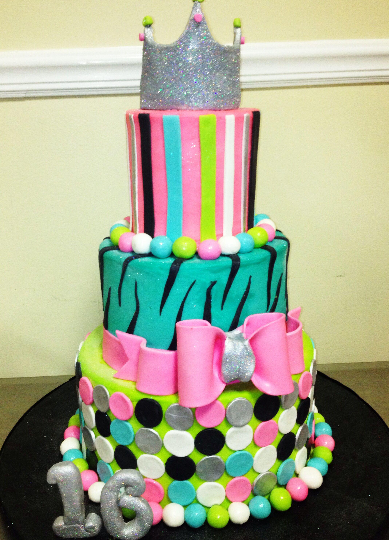 Funky sweet 16 cake kids cake sweet 16