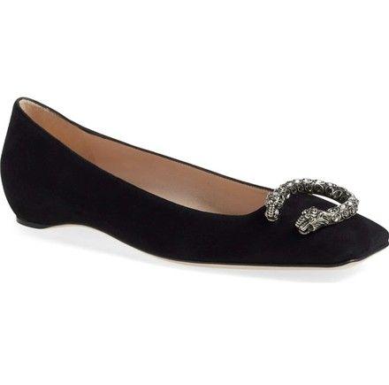 c931c54ce17 Designer Shoes - Gucci Black Dionysus Embellished Square Toe Flats Size EU  35.5 (Approx. US 5.5) Regular (M
