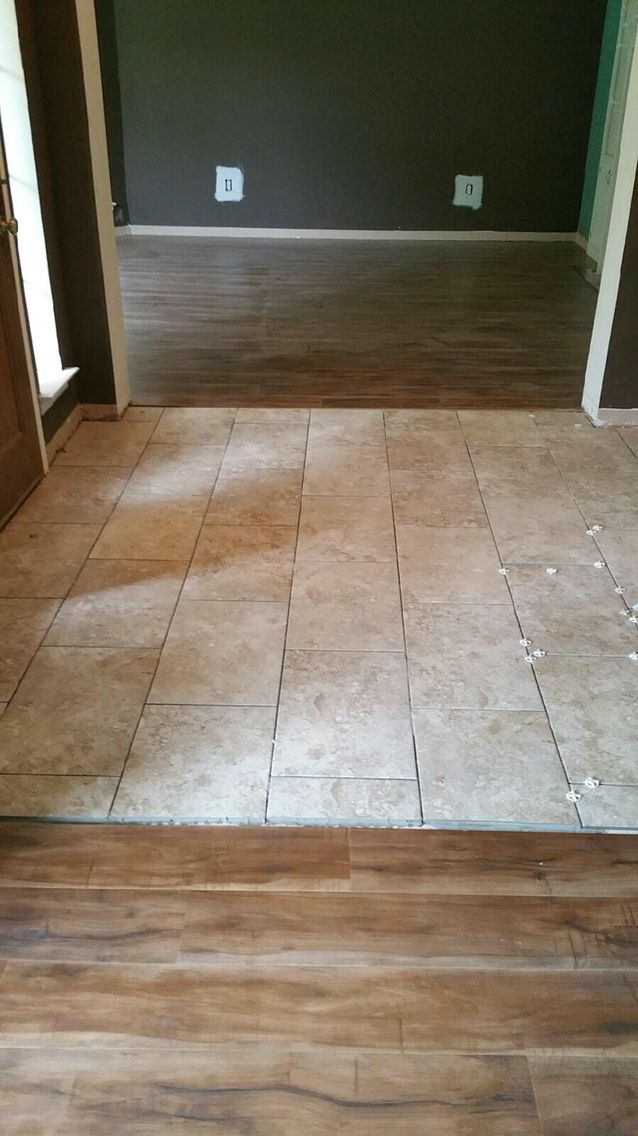 Laminate Flooring Travertine Look Tile Laid On Brick Pattern