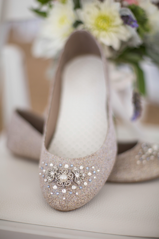 Embellished Bridal Flats Winter wedding shoes, Bridal