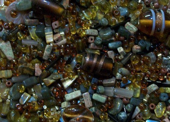 Perline oltre 100g di massa vetro Ambra & pietra di Dare2beUNIQUE