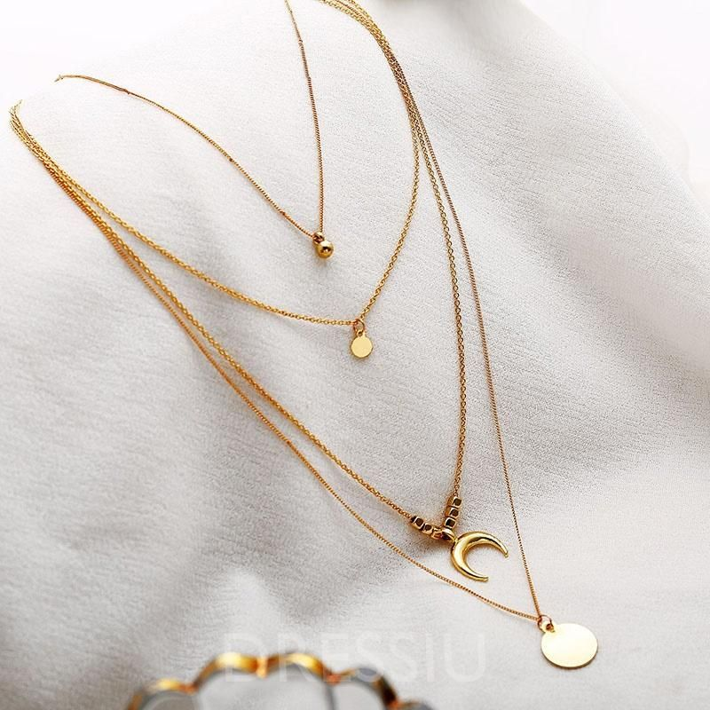 Chain Material Alloy Necklace Type Pendant Necklace Chain Type Link Chain Pendant Material Allo Circle Pendant Necklace Gold Necklace Moon Pendant Necklace