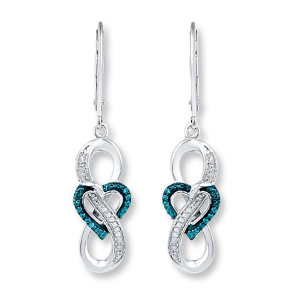 Infinity Blue White Diamond Earrings 1 10 Ct Sterling Silver Kay In 2020 Sterling Silver Earrings Studs Silver Earrings Studs White Diamond Earrings