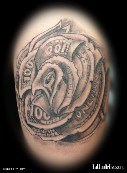 free tattoo drawings of ben franklin   Dollar Rose Tattoo ... - photo#32