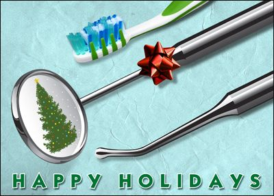 Brush Up Customer Relationships With Dental Holiday Cards That Display A Dental Kit It Features A Christmas Tree In The Tarjeta Navidena Odontologia Dentista