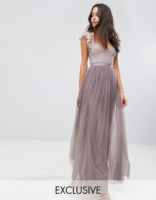 Needle & Thread Swan Tulle Maxi Dress With Frill Sleeve | Fashion ...