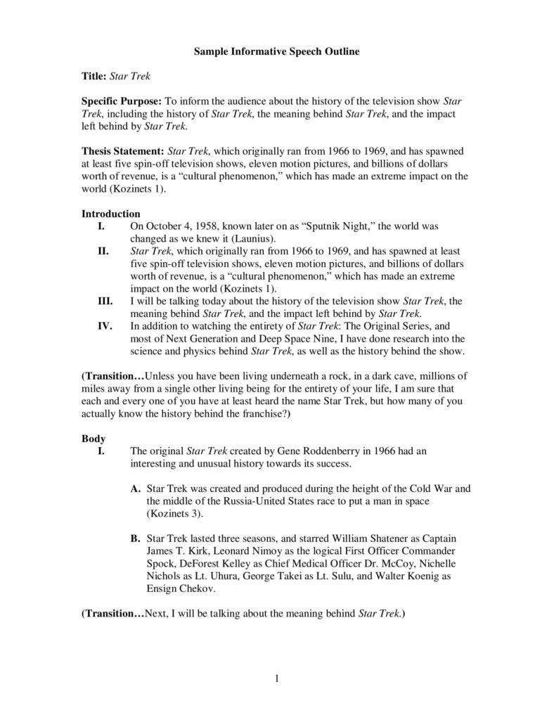 Informative Speech Outline Speech Outline Letter To Teacher