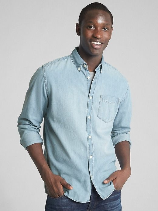 4566bebdd2c522 Gap Mens Denim Standard Fit Pocket Shirt Light Indigo Gap Men, Denim Button  Up,