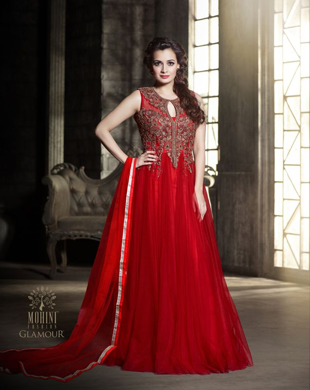 fd18fc1e4110 Diya Mirza Designer Net Red Party Wear Gown